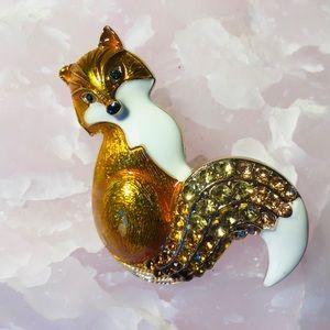 Gold Fox Brooch Animal Pin Enamel Crystal Jeweller